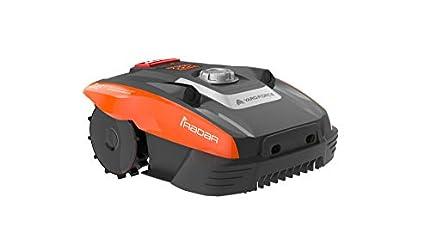 Yard Force Robot cortacésped Compact 280R, adecuado para superficies de césped de hasta 300 m ultrasónico iRadar, función de corte, sensor de lluvia y motor sin escobillas, 20 V, Negro/Naranja