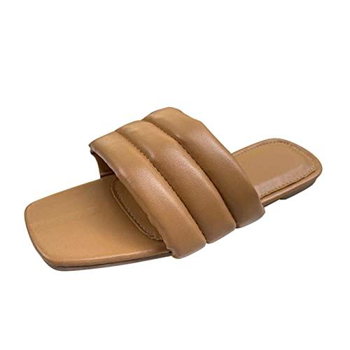 Zapatillas Mujer Moda 2021 con Punta Abierta Cuadrado Planas Sandalias Planas Mujer Casual Calzado de Playa Piscina cómodo Zapatillas Mujer casa de Vestir Zapatos Verano Antideslizante Ligero