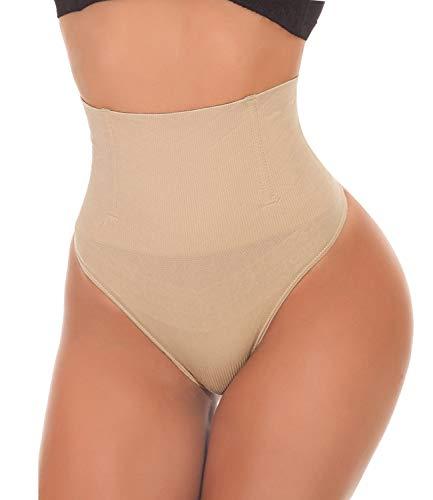SEXYWG Women Waist Cincher Girdle Tummy Control Thong Panty Slimmer Body Shaper Beige