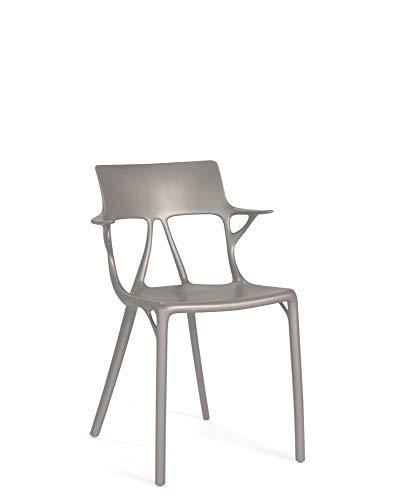 Kartell A.I. Silla de diseño moderno con reposabrazos, juego de 2 piezas, 80 x 55 cm, gris metalizado