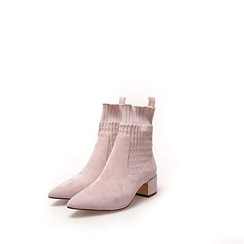 Ruixinshi Spitze quadratische Ferse Kurze Stiefel Stricken Enge Mund Socken Stiefel Winter Peeling Chunky Ferse Martin Woman Boots,Rosa Dick,34