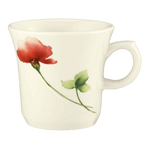Seltmann 001.526157 Luxor Porzellan Obere zur Kaffeetasse Kelch, Rund mit Relief, Creme/Grün/Rot, 34426 Livorno Floral Dekor, 0.18 L, 8cm Durchmesser, 7.5cm Höhe, 6 Stück