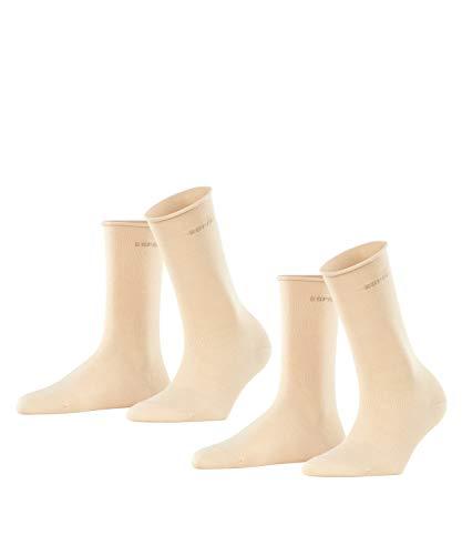 ESPRIT Damen Basic PURE 2-Pack W SO Socken, Beige (Cream 4011), 39-42 (2er Pack)
