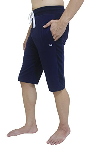 YogaAddict Men Yoga Shorts, Comfortable Pants, for Any Yoga, Pilates, Outdoor, Navy Blue - Size M