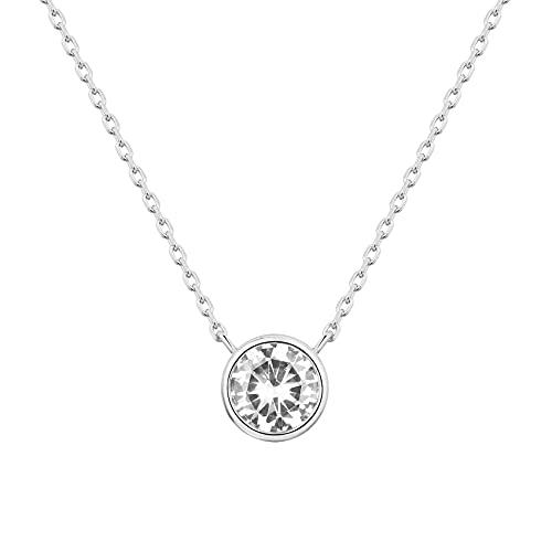 PAVOI 14K White Gold Plated 1.00 ct (D Color, VVS Clarity) CZ Simulated Diamond Bezel-Set Solitaire Choker Necklace | Necklace for Women