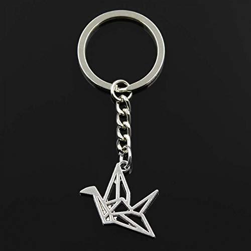 GANGXIA Schlüsselbund Mode Origami Paper Cranes Anhänger Schlüsselanhänger Metallkette Silber Männer Auto Geschenk Souvenirs Schlüsselbund