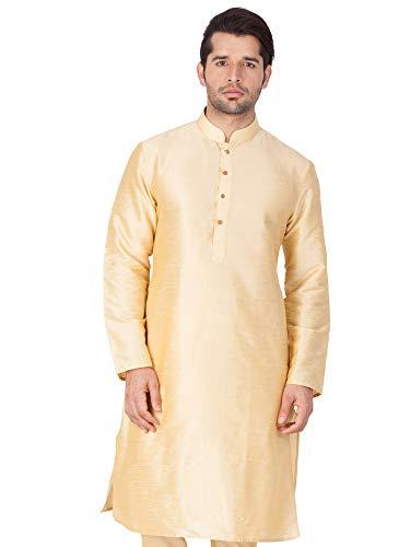 Style Instant Túnica de seda para hombre Banglori Kurta Piyama Set de ropa tradicional india Puja Marfil crema X-Large