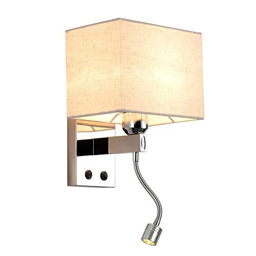 Lámpara de pared con pantalla de tela cuadrada con interruptor lámpara de pared hecha de acero inoxidable cromado y tela lámpara de pared E27 de 1 bombilla con foco LED flexible con brazo