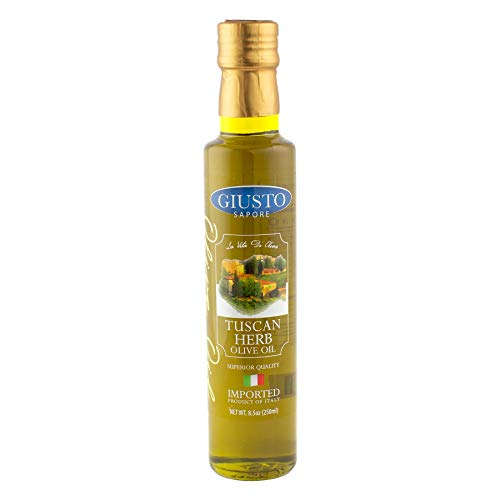 Giusto Sapore Tuscan Herb Infused Italian Extra Virgin Olive Oil, Cold Pressed, Imported from Italy - 8.5oz