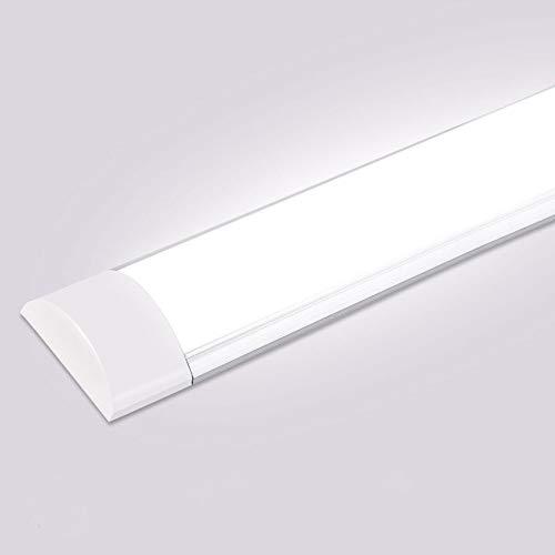 Luminaria Pantalla Lampara LedTubo Fluorescente 130°Haz De Gran Angular Luminaria Lámpara De Techo Para Armarios, Cocina, Oficina, Balcón, Cuarto (Blanco frío, 120cm/40W) ⭐