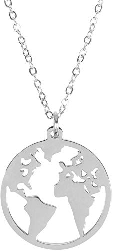 styleBREAKER Damen Edelstahl Kette mit rundem Weltkarte Amulett Anhängern, Halskette, Ankerkette, Schmuck 05030059, Farbe:Silber