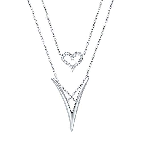 AMY-XCQ Collar Mujer 925 Plata de Ley Amor Corazón 9 Letra V Corazón Colgante Clavícula Cadena Mujer Joyería,B
