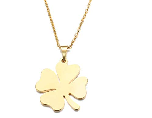 Gold Four Leaf Clover Shamrock Necklace for Women 17 Inch Stainless Steel Link Chain