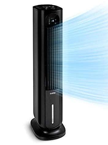 Klarstein Polar Tower Smart - Raffreddatore Evaporativo, Ventilatore, Umidificatore, Ionizzatore, Wi-Fi: AppControl, 85W, 3.306 m³/h, 4 Intensità, 3 Modalità, Timer, Serbatoio: 7L, Nero