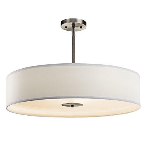 Kichler 42122NI Semi Flush Drum Pendant Lighting, Brushed Nickel 3-Light (24' W x 13' H) 450 Watts