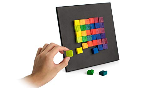 """GeriGuard Solutions Magna-Art Creative Fidget Toy for All Seniors Including Seniors with Memory Loss. Tactile Wooden Magnetic Blocks & Sensory Fun Activity. Board Size: 9"""" x 9"""""""