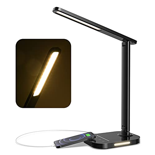 LITOM LED Desk Lamp, Eye-Caring Office Table Lamps with Night Light, 10 Brightness, 5 Color Temperature, USB Charging Port, 1H Timer, Touch Control, Memory Function for Reading, Work, Study(Black)