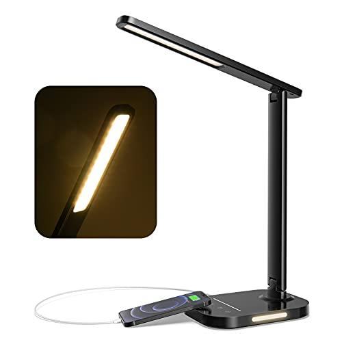 LITOM Schreibtischlampe LED 12W, LED Schreibtischlampe Dimmbar 10 Helligkeitsstufen & 5 Farb, Bürolampe Klappbarer mit Ladefunktion, Timer, Nachtlicht, Augenschutz für Arbeit, Lesen, Schwarz