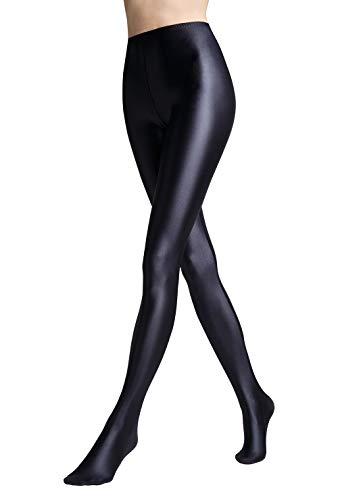 Lizar Shiny Glossy Black Tights - blickdichte glänzende Strumpfhose - Größe L - Black