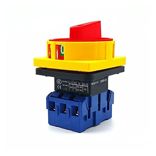 WHBGKJ Commutateur rotatif SZD11-25A / 32A / 40A / 63A / 80A / 100A AC 600V ON/Off 2 Posiciones Cambio DE Cambio DE CAM Rotary 3 Fase (Voltage : 32A)