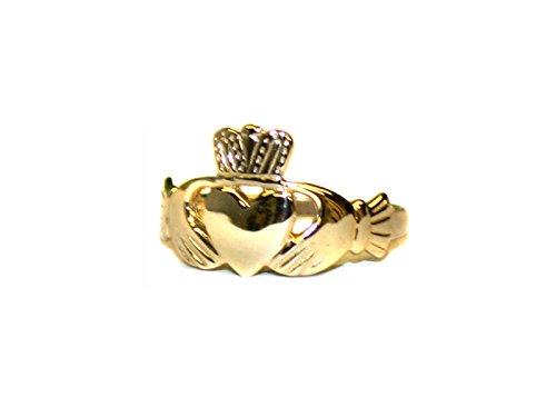 Joyería Celta Irlandés deseo 9 Ct oro amarillo Hombre anillo de Claddagh.