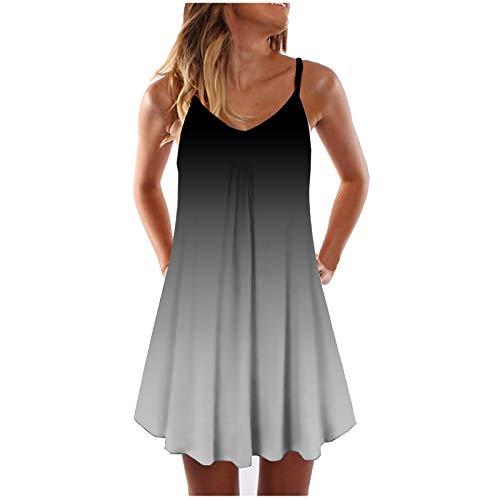 Vestido de verano para mujer, cuello redondo, estilo bohemio, con volantes, estilo informal, para la playa, tamaño grande, #03_negro ceniza, S