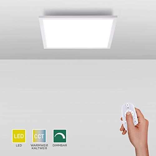 LED Panel flach, 30x30, dimmbare Decken-Lampe | Farbtemperatur des Decken-Panels mit Fernbedienung einstellbar, warmweiss - kaltweiss | Decken-Leuchte für Wohnzimmer, Küche und Bad