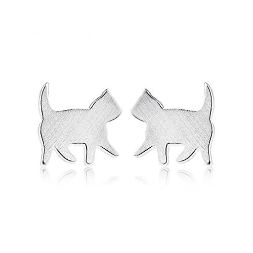 Richight 純銀製散歩中の猫シルエットスタッドピアス、シンプルな日常Silver925シルバーかわいい小さなネコピアス耳飾