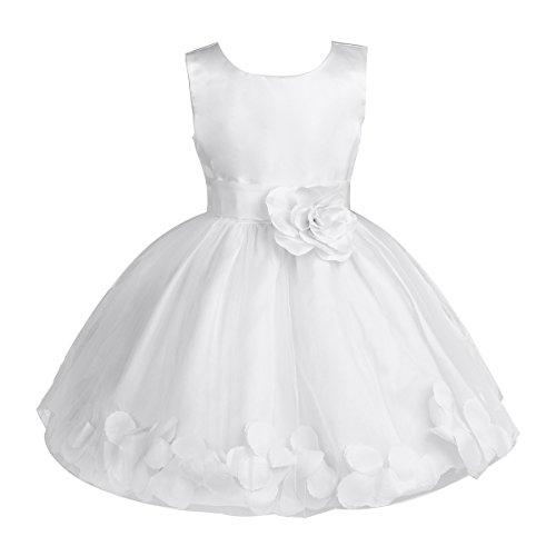Freebily Vestito Cerimonia Bambina Lungo Elegante Tulle Petali di Rosa Abito da Principessa Battesimo Abito Damigella Vestito da Sposa Matrimonio Colorati Comunione Bianco 4 Anni