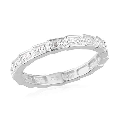 TJC White Diamond Band Ring for Women Wedding Jewellery in 925 Sterling Silver