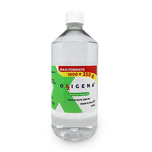 Oxxigena glicerina vegetal (glicerol) – 1 L (1250 g) – USP/Ph. Eur, pureza farmacéutica certificada – Base neutra Full VG – Inodoro y sabor