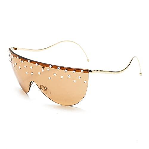 Gafas de sol de gran tamaño sin montura para mujer Gafas de sol de lujo con diamantes de imitación Patas curvas únicas Gafas de cristal transparentes de una pieza vintage-3_Orange_China