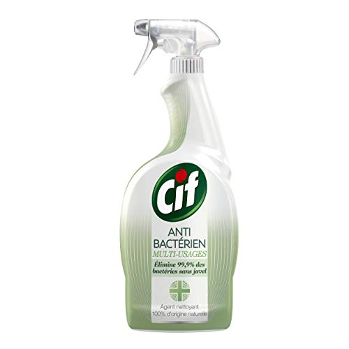 CIF Spray Nettoyant Antibacterien Sans Javel, 100% Désinfectant et Antibacterien, 100% Brillance sans Traces