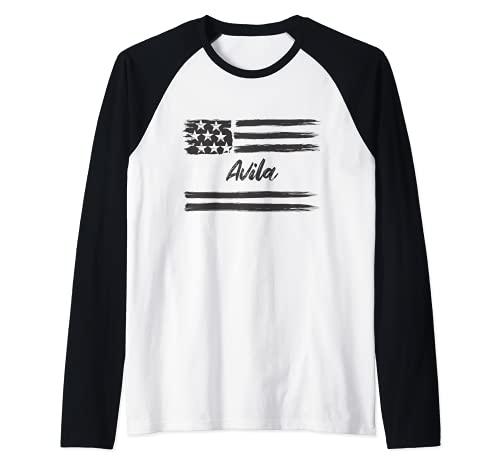 Avila, Nombre personalizado, barras y estrellas, bandera Camiseta Manga Raglan