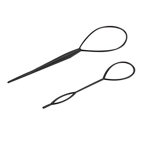 2 pcs Ponytail Creator Plastic Loop Styling Tools Black Pony topsy Tail Clip Hair Braid Maker Styling Tool Salon Worldwide Durobayuusaku