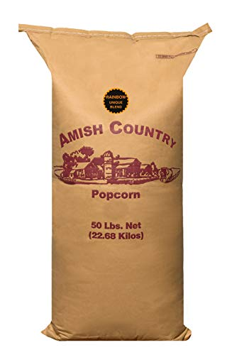 Amish Country Popcorn   50 lb Bag   Rainbow Popcorn Kernels   Old Fashioned with Recipe Guide (Rainbow - 50 lb Bag)