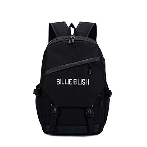 FURUN Teens School Billie Eilish Backpack USB Charging Student Daypack Cute Casual Hiking Daypack Unisex (Black)