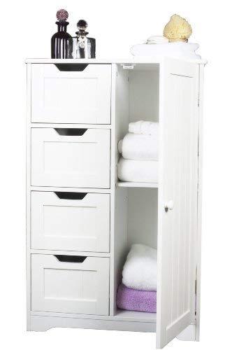 Express trading - Armadio in legno, con 4 cassetti e 1 anta con mensola, ideale nella stanza da bagno o in camera da letto, per la casa, motivo scanalato, colore: Bianco