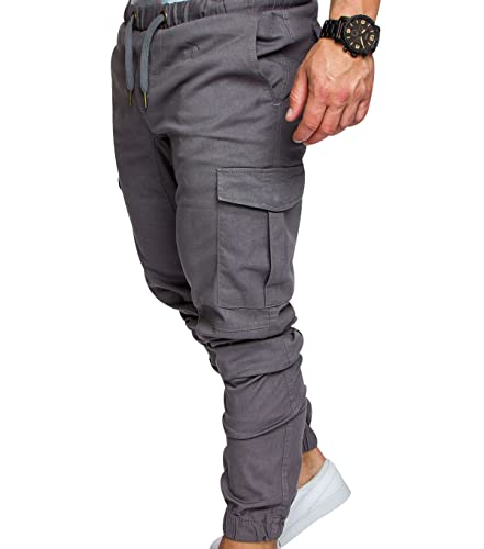 OADOBKICE Pantalon Hombre Pantalones Casuales De Los Hombres Pantalón Largo Hombre Pantalones Hombre Gran Tamaño Pantalon Multibolsillos Hombre Pantalones Harem Hombre Pantalones Negro Gris L