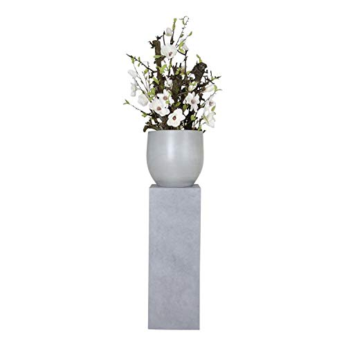 Betonnen Pot Witte bloemen op hoge zuil