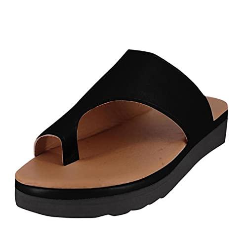 DZQQ Moda para Mujer Pisos Cuñas Punta Abierta Tobillo Zapatos de Playa Zapatillas Romanas Sandalias Zapatillas Mujer Verano 2020 Chanclas Mujer