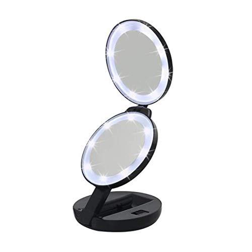 LMDJ Miroir de Maquillage de Voyage éclairé par LED, lumière de Jour, Compact, portatif, Miroir Pliant illuminé