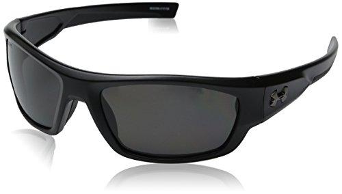 Under Armour Force Storm 8630086-010108 Polarized Rectangular Sunglasses, Satin Black/Black, 61 mm