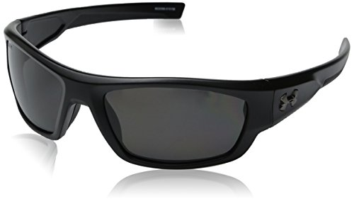 Under Armour Force Storm 8630086-010108 Polarized Rectangular Sunglasses, Satin Black/Black, 61 mm