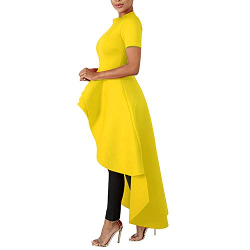 Annystore High Low Tops for Women - Ruffle Short Sleeve Bodycon Peplum Shirt Dresses Yellow