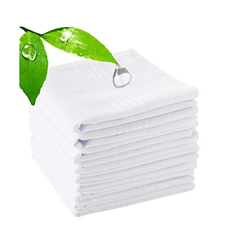 Hankerchief Pack Of 12 Pieces, Men's Handkerchiefs100% Soft Cotton White Hankie-Best Christmas Gifts