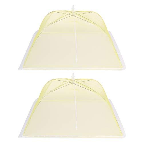2Pcs 43x43Cm Carpa de cubierta de alimentos, Cubiertas de malla para alimentos con paraguas plegable lavable para alimentos, herramienta de cocina, amarillo