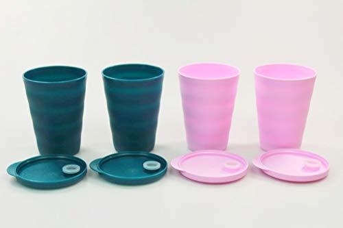 Tupperware Trinkhalmbecher Junge Welle 330 ml türkisgrün (2) + rosa (2) 38079