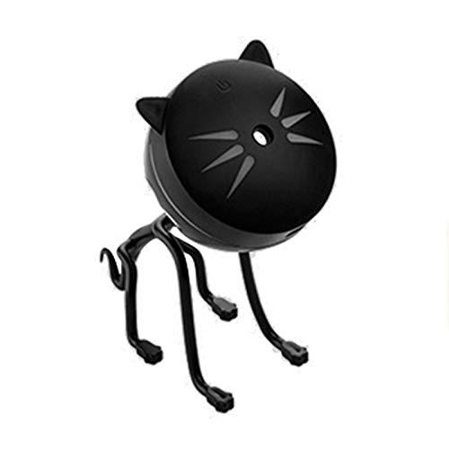 Zwarte 150 ml draagbare kat schattige USB LED glowing nachtlampje luchtbevochtiger diffuser kleurrijk licht etherische olie diffuser