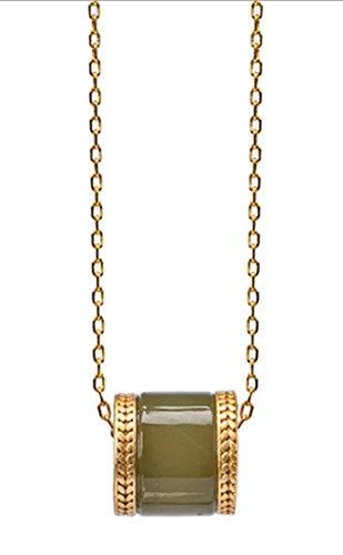 RXSHOUSH Collar con colgante para mujer, círculo Hetian Jade plata 925 chapado en oro, joyería de regalo de buena suerte